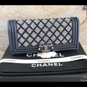 Chanel Blue Suede Boy Crystal Embellished Clutch